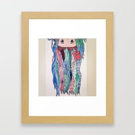 kawaii zentangle hair anime Framed Art Print