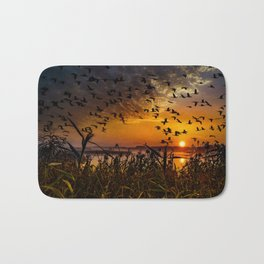 flying birds in the sky with sunset view Bath Mat