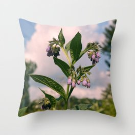 Healing Comfrey Plant with Flowers Throw Pillow