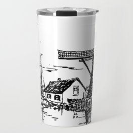 Dutch scene with windmill and house near a canal and freight boat Travel Mug