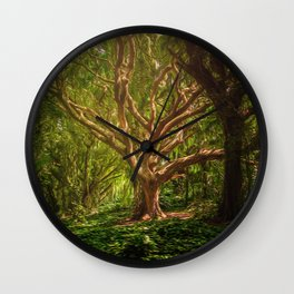 Huge Tree Middle Of Forest Wall Clock
