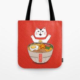 Liter of Ramen. Japanese soup and Manekineko cat. Tote Bag