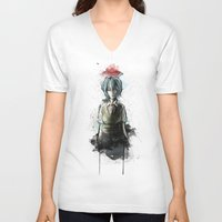 evangelion V-neck T-shirts featuring Ayanami Rei Evangelion Character Digital Painting by Barrett Biggers