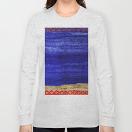 V24 New Blue Calm Traditional Moroccan Carpet Texture. Long Sleeve T-shirt