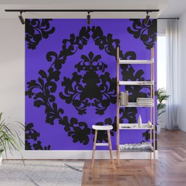 Victorian Damask Purple and Black Wall Mural