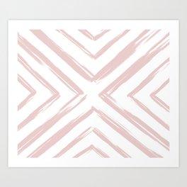 Minimalistic Rose Gold Paint Brush Triangle Diamond Pattern Art Print
