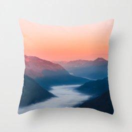 Foggy river Soča at sunrise Throw Pillow