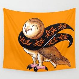 Happy Owl-o-Ween (Barn Owl) Wall Tapestry