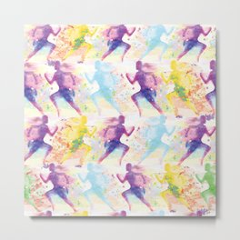 Watercolor women runner pattern Metal Print