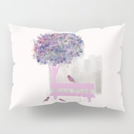 Park bench tree and birds Pillow Sham
