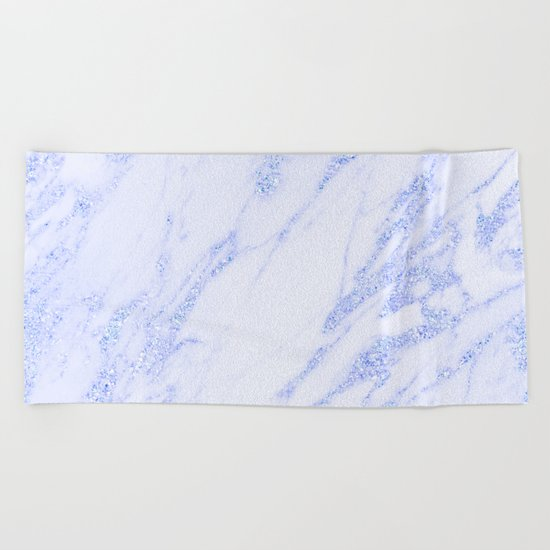 Blue Marble - Shimmery Glittery Cornflower Sky Blue Marble Metallic Beach Towel