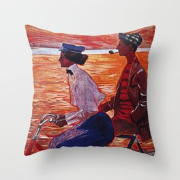Vintage Meteor Bicycle Ad Poster Throw Pillow