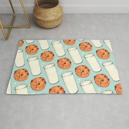 Milk & Cookies Pattern - Blue Rug