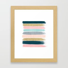 Zara - minimal gold navy pink pastel stripes painterly boho decor trendy gifts Framed Art Print
