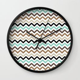 Aqua, Brown, and Black Chevron Stripes Wall Clock