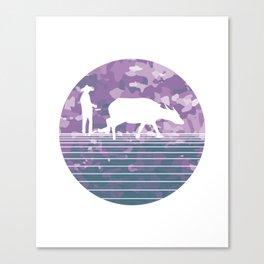 Farmer and Water Buffalo Vietnamese Village Canvas Print