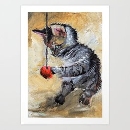 Kitten.Pet oil painting. Art Print