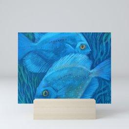 Blue discuses, Marine Fish, Underwater Art Mini Art Print