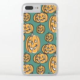 Cheerful Pumpkin Heads Clear iPhone Case