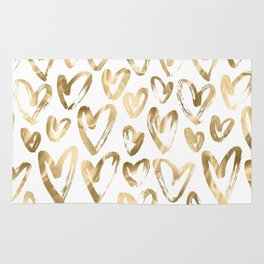 Gold Love Hearts Pattern on White Rug