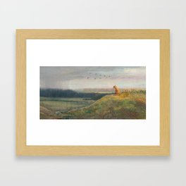 Red Fox Looks Out Over the Valley Framed Art Print