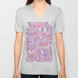 Trendy girly pink lavender coral watercolor floral Unisex V-Neck