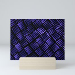 Hand Painted Classic Basketweave Pattern Purple and Black Mini Art Print