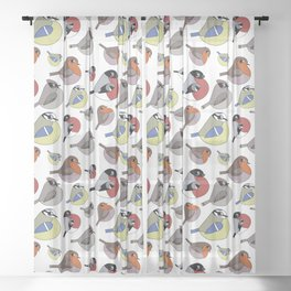 Cute little birds Sheer Curtain