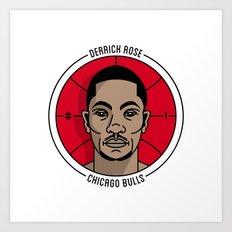Derrick Rose Badge Illustration Art Print