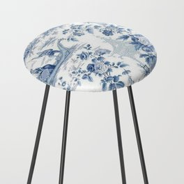 Powder Blue Chinoiserie Toile Counter Stool