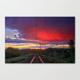 Northern sunset and a railway Canvas Print