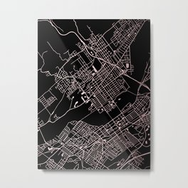 Wilkes-Barre Rose Gold and White Map Metal Print
