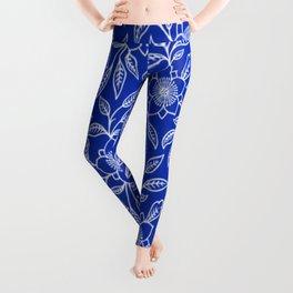 Vintage Lace Floral Sapphire Blue Leggings