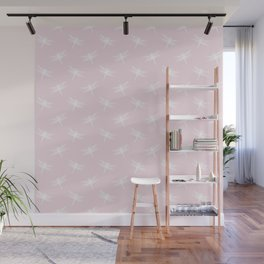 Light Pink & White Dragonfly Pattern Wall Mural