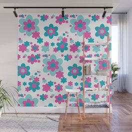 Teal Blue and Hot Pink Floral Wall Mural