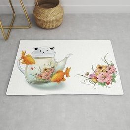 Flowering Tea in a Cat Teapot Rug