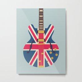 Union Jack Flag Guitar - Slate Metal Print