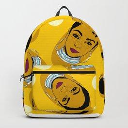 Yellow Ms. Adu Pattern Lover's Rock Backpack
