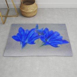 Painted Blue Gentians Floral Rug