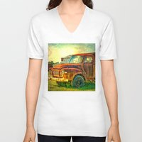 truck V-neck T-shirts featuring Old Rusty Bedford Truck by Wendy Townrow
