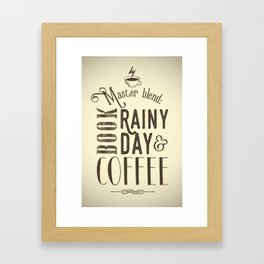 Coffee, book & rainy day II Framed Art Print