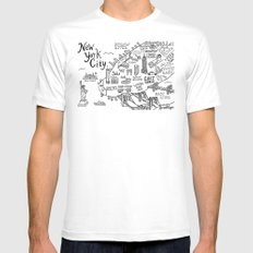 New York City Map MEDIUM White Mens Fitted Tee