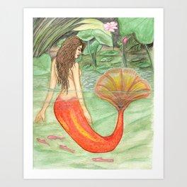 Waterlily Mermaid Art Print
