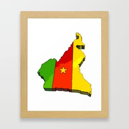 Cameroon Map with Cameroonian Flag Framed Art Print