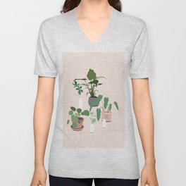 plant party in pink Unisex V-Neck