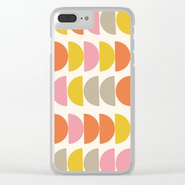 Cute Geometric Shapes Pattern in Pink Orange and Yellow Clear iPhone Case