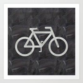 Bicycle on chalkboard Art Print