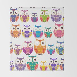 pattern - bright colorful owls on white background Throw Blanket