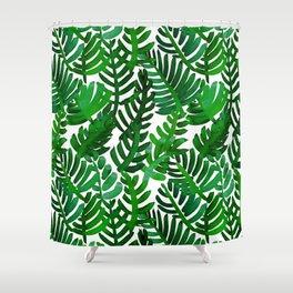 Round Palm Green Shower Curtain