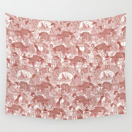 chinoiserie toile red Wall Tapestry
